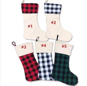 Navidad Stocking Grid Plaid Navidad Medias Colgante Candy Candy Regalos Bolsa Monedero Patchwork Calcetines largos Navidad Adorno Regalos EWA2427