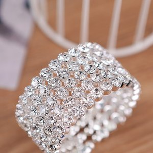 5-Row Bridal Wedding Big Crystal Bracelet Silver Plated and Gold Color Metal Wide Side Open Bangles for Women