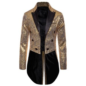 2020 Sequin Long Jacket Blazer Men Swallowtailed Coat Stage Magician Wedding Groom Suit Tuxedo Hombre Masculino
