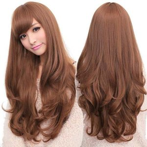 "Woman nature mave wig 26"" Stylish Long Heat Resistant Fiber Curly Blonde Hair Wig for lady"