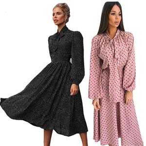 2020 women's autumn new Scarf Collar long sleeve round dot dress