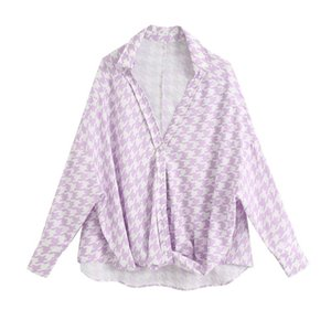 Blsqr mulheres doces houndstooth cópia blusas moda Único-breasted manga comprida camisas femininas blusas chique tops