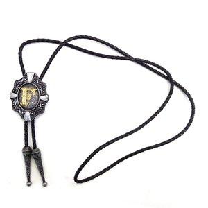 """5 шт. Оптовая винтаж Western Cowboy Bolo Tie для мужчин черная кожаная цепная металлическая пряжка с золотой буквой """"F"""" Пользовательские болоты"""