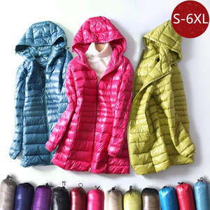 S~6XL Autumn Winter Women White Duck Down Jacket Slim Parkas Ladies Coat Long Hooded Plus Size Ultra Light Down Outerwear RH1056 C1204