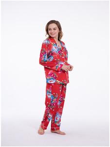 Traje H80s90 Nueva Noche mujeres Conjunto de pijama de manga larga desgaste del salón de las señoras de la ropa interior ropa de dormir Pijamas Inicio Clthes