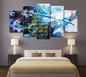 Art Wall Decor Painting 5 Paneles HD Picture Japón Anime Boy Picture Tomiosoka Giyuu Demon Slayer Poster Animation Z1202