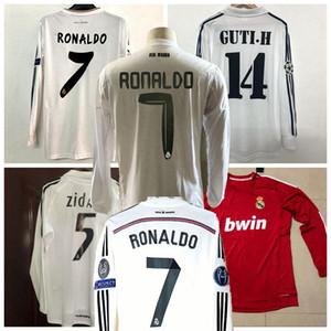 Retro Real Madrid de manga larga Jerseys de fútbol Zidane Raul Ronaldo Kaka 2001 2002 05 06 2010 11 12 13 14 15 16 17 Retro Fútbol Camisa llena