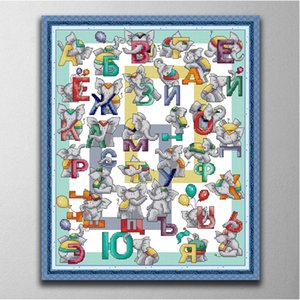 Russian letters home decor paintings ,Handmade Cross Stitch Embroidery Needlework sets counted print on canvas DMC 14CT  11CT