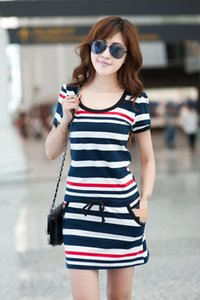 new spring summer 2019 women new fat MM large yards recreational striped shirt dresses package hip Drop Shipping