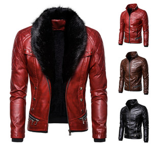 Men's leather jacket 2020 autumn and winter new fashion punk detachable fur collar rivet windproof and warm motorcycle leather jacket