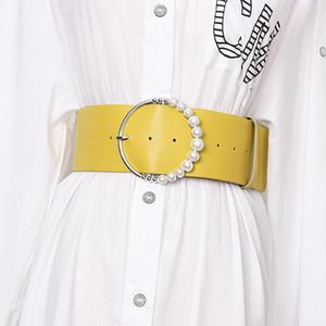 Brand Korean Solid Color Pearl Ring Buckle Women Belts Waist Band Faux Leather Wide PU Waist Belts Ladies Dress Belt Corset