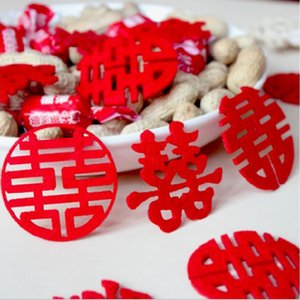 Wedding supplies, wedding banquet non-woven fabric, hand-spattered mini happy characters, 30 pcs Red