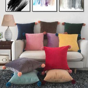 Cuscino cuscino color color lana palla di velluto di velluto pillowcase cuscino quadrato lombare copertura nordica moderna minimalismo homeware 10 styleszy76
