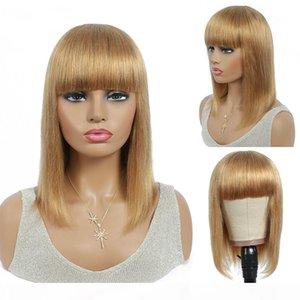 Light Brown Brazilian Straight Short Bob Human Hair Wigs With Bangs For Women Full Machine Made Wigs