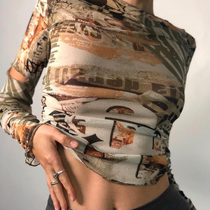 2020 Autumn And Winter New Women Round Neck Long-sleeved Printed T-shirt Tops Slim Slimming Showing Belly Button
