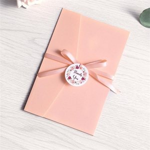 100pcs Wedding Invitations Pink Blue Burgundy Pocket Greeting Cards Envelope Customized Party with Ribbon and Tag