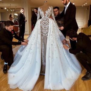 Gorgeous Beaded Overskirt Wedding Dresses Sheer Deep V Neck A Line 3D Appliqued Long Sleeves Bridal Gowns Sequined Tulle robe de mariée