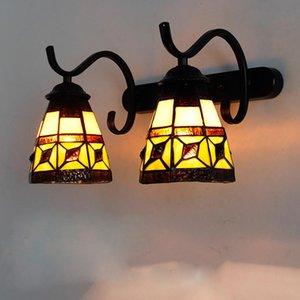 Vintage tiffany lâmpadas mediterrâneas espelho espelho de vidro espelho para sala de estar quarto de iluminação de luz decoração de casa