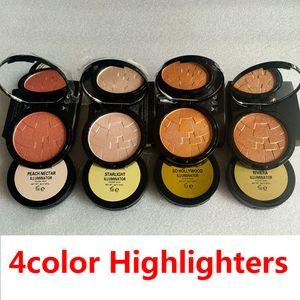 Marca Reforçadores 4 Cores Brilho Pó 4 Cores Diamante Bronze Do Corpo Highlighter Power Rosto Maquiagem Iluminação Destacando Pó Pressionado