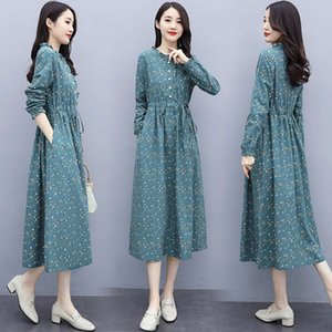 Floral Cotton hemp dress women's long sleeve new style in spring and Autumn