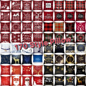 170 Style Red Plaid Geometric Merry Christmas Elk Pillow Covers Decor Cushion Covers Xmas Sofa Throw Pillow Case Home Office Cushion Covers