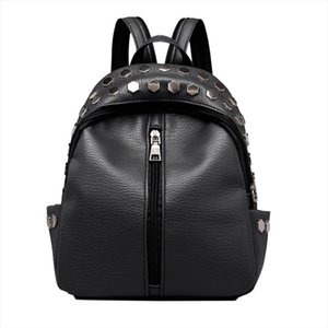 anti theft Vintage Womens Rivets Leather Backpack Satchel Travel School Rucksack Bag School Backpack For Teenage Dropship