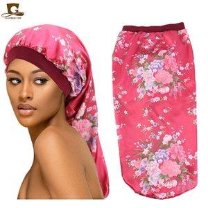 2020 extra longo cetim boné sono tampa longa bonnet para tranças mulheres moda beanie leopardo floral impresso cabelo de seda solto tampa solta atacado