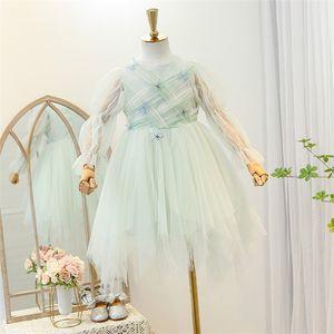 Dulce chica de encaje Gauze Princess Vestido 2021 primavera New Children Estéreo Mariposa Vestido de tul Gauze Gauze Puff Manga Vestido de fiesta A5736