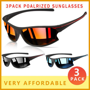 3 PACK Polarized Sunglasses Men Fashion Sport Style Sun Glasses Ultralight Eyeglasses Frame Outdoor Sports Goggles Male N7
