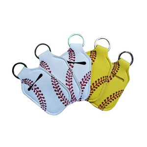 Neoprene Cover Baseball Softball Keychains Chapstick Holder RTS for Hand Sanitizer Bottle Gel Holder Sleeve Key Chain Ring pendent EWF4226