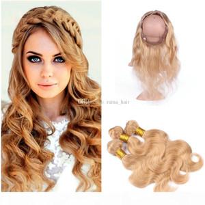 Bonds à cheveux blonde à cheveux bon marché avec 360 dentelle Fermeture Couleur 27 Blonde Body Wave Cheveux Tissu avec pré-cueilli 360 Frontal