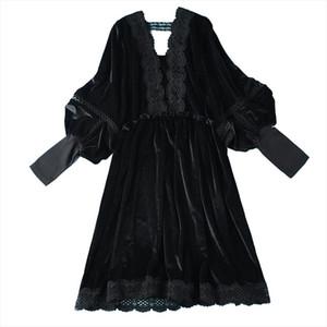 Fashion Super plus size 5XL Black Gold Velvet Dress Women Spring Autumn Long sleeve Lace Splice Loose Sexy Dress 120kg can wear