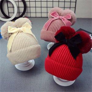9Styles Double Mur Ball Bow Hats Baby Pom Beanie Cap Cap Toddler Дети Девушки Зимние Теплые Крючком Вязаные Шляпы Аксессуары Крышки
