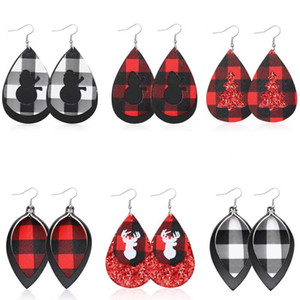 Christmas Tree PU Leather Earring Red Plaid Sequin Lattice Water Drop Earring Christmas Deer Head Ear Jewelry for Women