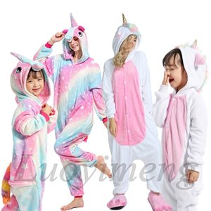 Boys Girls Kigurumi Pajama Sets Panda Unicorn Pajamas For Women Pijimas Onesie Adults Animal Sleepwear Winter Warm Pyjamas Kids Q1203
