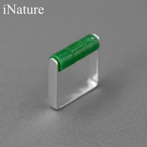 INATURE 925 Sterling Silver Natural Jadeite Stone Ring Simple Finger Rings For Women Female Jewelry Gifts J1208