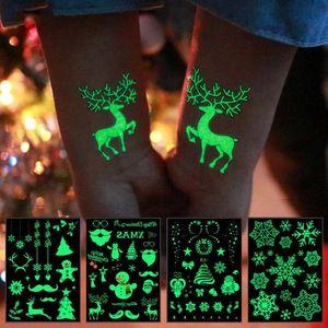 Christmas Luminous Tattoo Stickers Santa Claus Snowflake Waterproof Glowing Sticker Kids Christmas Toys Natal Decoration Noel