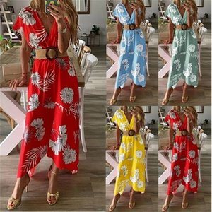 Women's dress spring and summer printed dress large size women's dress FY8I