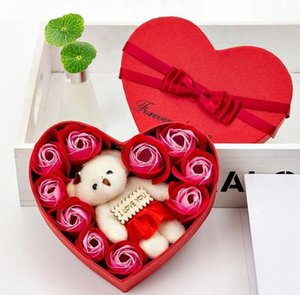 Valentine Day Rose Gift Box 10 Flowers Soap Flower Gift Box Rose Flower Boxs Bear Bouquet Wedding Birthday Party Decorations Gift