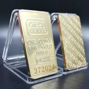CREDIT SUISSE غير المغناطيسية سبيكة 1 أوقية الذهب بار مطلية بالذهب العملات التذكارية السويسرية مختلف الحرف الترقيم التسلسلي ليزر المقتنيات EWF3053
