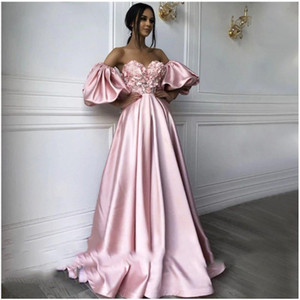 Setwell Sweetheart A-line Evening Dresses Half Sleeves Beaded Flowers Floor Length Pleated Satin Plus Size Prom Party Gowns