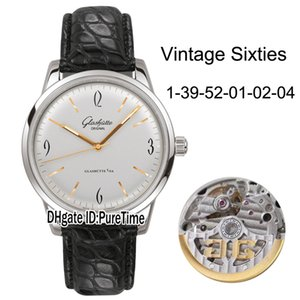 Best Edition Glashutte Spezimatic Vintage Sixties 1-39-52-01-02-04 Steel Case Silver Dial Miyota 821A Automatic Mens Watch Leather Watches