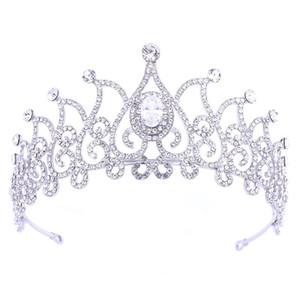 Women Korean Style White Crystal Tiaras Crown Bridal Wedding Fashion Dress Hair Jewelry Ladies Delicate Elegant Headpieces