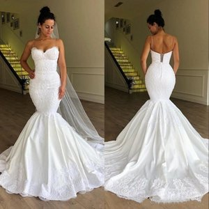 Sexy Spaghetti Straps Wedding Dress Mermaid Corset Back Flower Pattern Lace Satin 2021 Stunning Bridal Gowns Customize Plus Size