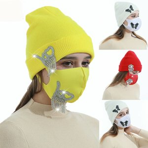 2021 Women Ski Cap Autumn Winter Wool Knit Hat Soft Beanie Face Mask Outdoor Sports Skull Caps Warm Knitted Hats Party Favor Kimter-L973FA