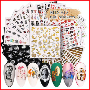 Multi Styles 3D Nail Art Sticker Hollow Decals Mixed Flower Dragon Tips Designs Nail Letter Adhesive Paper 6 sheet set