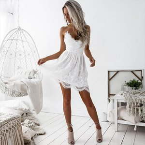 Sexy Dresses Women A line Lace Short Mini Backless Bandage Dress Club Party Summer Beach Dress 2020 V neck Robe Femme Vestidos