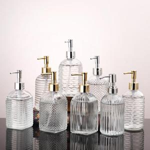 400ml Clear Pump Head Bottle Glass Hand Sanitizer Bottle Cosmetic Lotion Sub-bottle Push-on Shower Gel Shampoo Storage Bottles XD24253