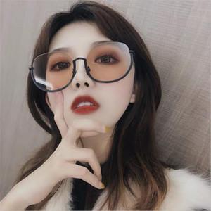 Gafas de sol Gafas de Guangdu Mujeres Vintage Medio Marco Gafas de sol Eyewear Brand Designer Círculo Redondo Semi Rimless Glasses UV400