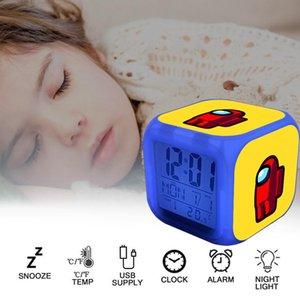2020 Hot среди нас игрушки для детей Детские светодиодные цифровые будильники с 7 цветами, меняющимся ночным светом с температурой дисплея Детский студент Креативный подарок